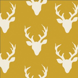 Tissu Coton AGF Hello, Bear - Buck Forest Mustard x 20cm
