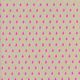 ♥ Coupon 240 cm X 110 cm ♥ Tissu Coton Cotton Steel Beauty Shop - drops in pink