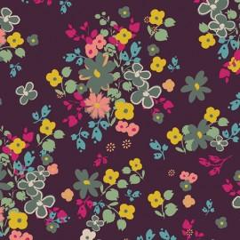 ♥ Coupon tissu 70 cm X 130 cm ♥ voile de coton AGF Indie Boheme - Blooming Soul Plum