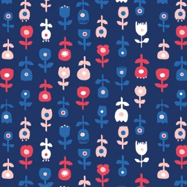 ♥ Coupon 40 cm X 130 cm ♥ AGF cotton fabric In blue - De Roos Donker
