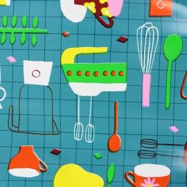 Tissu toile cirée In my kitchen - vert canard  x 29cm