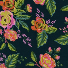 Menagerie Cotton Steel Viscose fabric - Jardin de Paris navy x 40cm