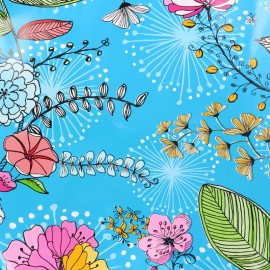 Oilcloth fabric Drawn Flowers - blue x 10cm