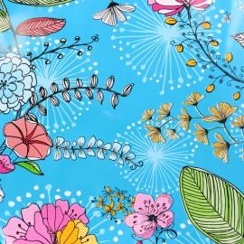 Tissu toile cirée Drawn Flowers - bleu  x 10cm