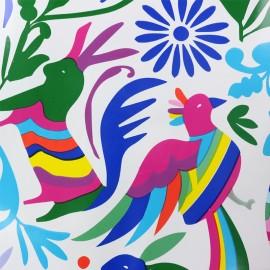 Tissu toile cirée Colorful animal life - blanc  x 50cm