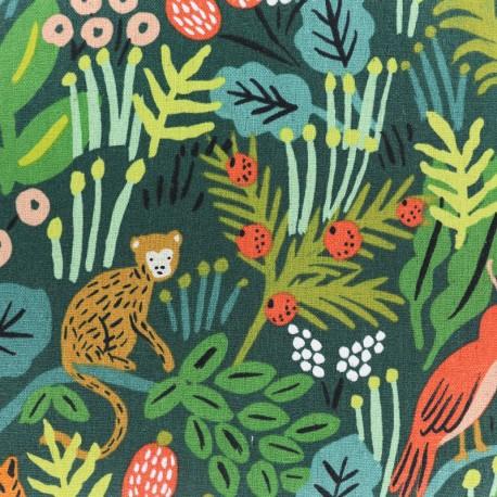 Tissu coton et lin Cotton Steel Menagerie - Jungle Hunter x 25cm