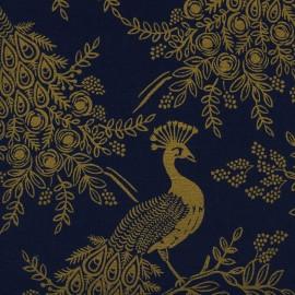 Tissu coton et lin Cotton Steel Menagerie - Royal Peacock Navy x 20cm