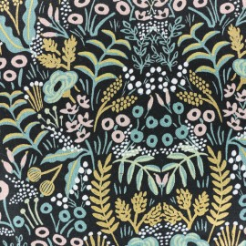 Menagerie Cotton Steel Cotton and linen fabric - Tapestry midnight x 10cm