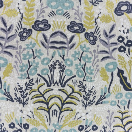 Menagerie Cotton Steel Cotton and linen fabric - Tapestry natural x 10cm