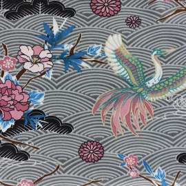 Tissu satin polyester A journey to Japan  - gris x 59cm