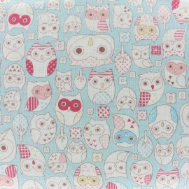 Tissu double gaze de coton Kokka Tréfle Animal world - bleu x 10 cm