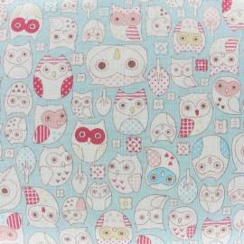 Tissu double gaze de coton Kokka Tréfle Animal world - bleu x 10 cm