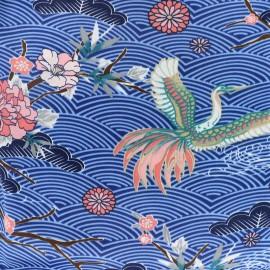 Tissu satin polyester A journey to Japan  - bleu x 59cm
