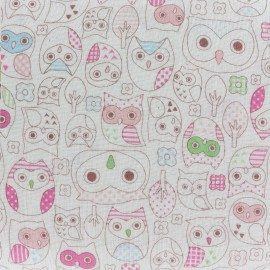 Tissu double gaze de coton Kokka Tréfle Animal world - rose x 10 cm