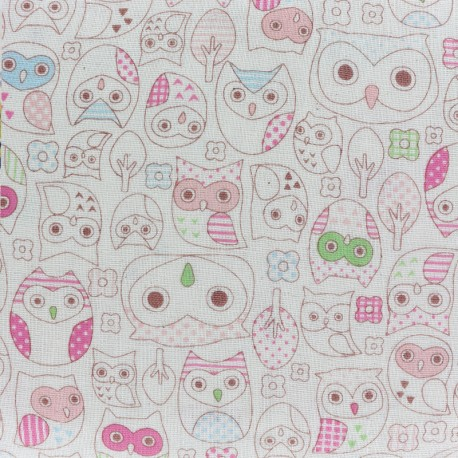 Kokka coton fabric Trèfle Animal World - pink x 10 cm