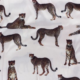 Leopard Silk Fabric - pale pink x 22cm