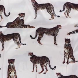 Tissu soie léopard - rose pâle x 22cm