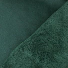 Tissu sweat envers minkee Uni - vert sapin x 10cm
