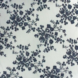Embroidered on Tulle Lace Fabric Flora - black x 10cm