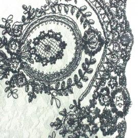 Tissu dentelle brodée Fleur Deluxe - noir x 10cm