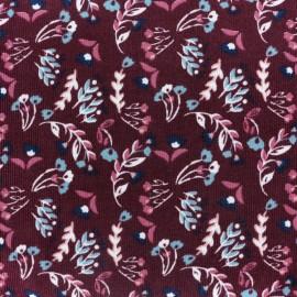 ♥ Coupon 100 cm X 140 cm ♥ Tissu velours milleraies Beautiful nature - rouge bordeaux