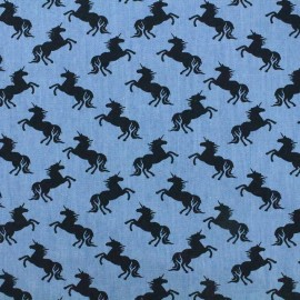 Fluid jeans fabric Unicorn - navy/blue x 10cm