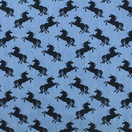Fluid jeans fabric Unicorn - navy/blue x 10cm