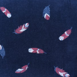 Tissu velours milleraies Fallen feather - bleu marine x10cm