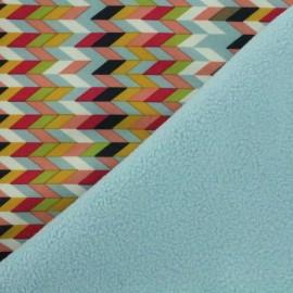 Tissu Softshell Chevrons bleu ciel x 10cm