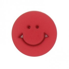 Button, round-shaped, Smile - red