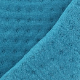 Quilted Jersey Fabric Basik Poinçon Camillette Création - blue duck x 10cm