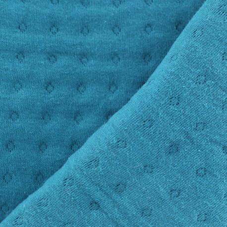 Tissu jersey matelassé Basik Poinçon Camillette Création - blue duck x 10cm