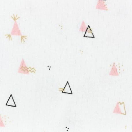 Tissu jersey Picoti Camillette Création - poudre & or x 10cm