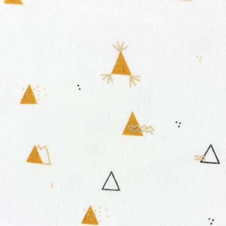 Tissu jersey Picoti Camillette Création - camel & or x 10cm