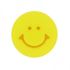 Bouton rond Smile jaune 12 mm
