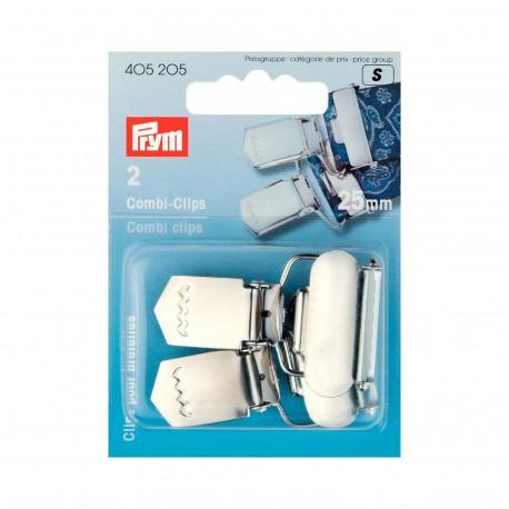 Lot de 2 pinces pour bretelles / combi clips PRYM 25 mm - argent