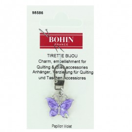 Butterfly charm zipper - purple