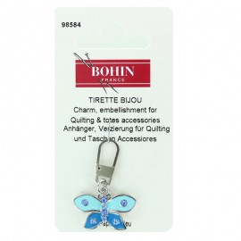 Butterfly charm zipper - blue