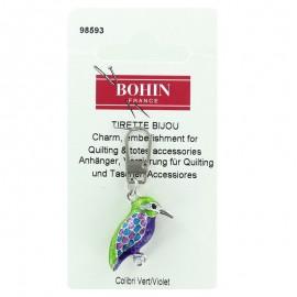 Tirette bijoux fantaisie Colibri - vert/violet