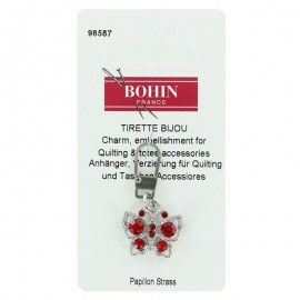 Butterfly charm zipper with rhinestones - red