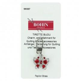 Tirette bijoux fantaisie papillon avec strass- rouge