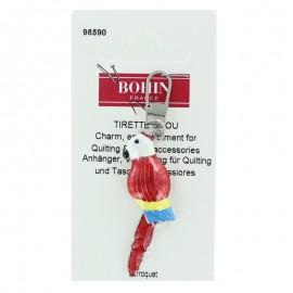 Parrot charm zipper - red