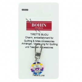 Peace and Love Bohin charm zipper - multicolor
