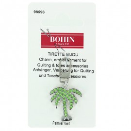 Palm tree Bohin charm zipper with rhinestones - green