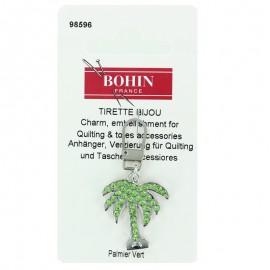 Tirette bijoux Bohin fantaisie Palmier avec strass- vert