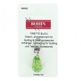 Pineapple Bohin charm zipper with rhinestones - green