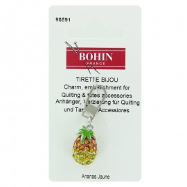 Pineapple Bohin charm zipper with rhinestones - yellow