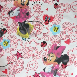 Tissu coton Minnie Mouse  - blanc/rose x 32cm