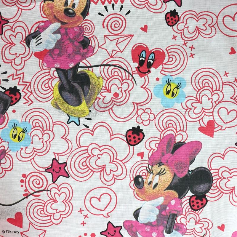 7feb3f7d62604 Tissu Walt Disney coton Minnie Mouse - blanc rose