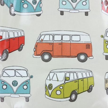 Tissu coton enduit brillant VW Van - lin x 32 cm